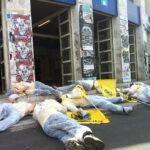 Obiettivo Referendum: scenario post incidente nucleare a piazza Fermi a Roma per flash mob e volantinaggio